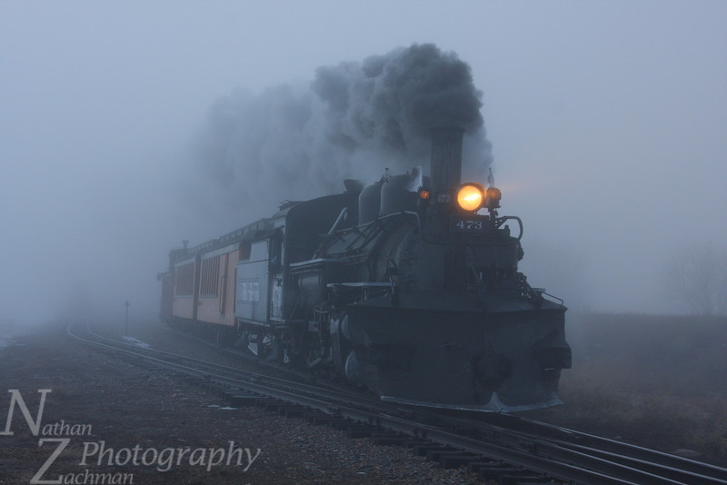 Rio Grande 473, one foggy morning north of Durango, Colorado.