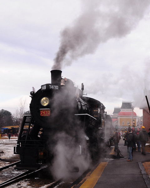 """The Massachusetts Bay Railroad Enthusiasts, and the Conway Scenic Railroad, of North Conway, NH, hosted """"Steam On The Snow"""" on January 2nd, 2011. The Mass Bay RRE, chartered an entire train, powered by the Steam Locomotive #7470, for a round-trip run from the North Conway train station, to The Notchland Inn, in Hart's Location. There were a number of photo stops along the way."""