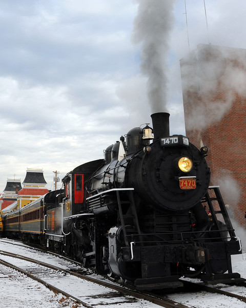 "The Massachusetts Bay Railroad Enthusiasts, and the Conway Scenic Railroad, of North Conway, NH, hosted the annual ""Steam In The Snow"" event, on January 7th, 2012. The Mass Bay RRE, chartered the train, powered by the Steam Locomotive #7470, for a round-trip run from the North Conway train station, to The Notchland Inn, in Hart's Location. There were a number of photo stops during the trip."