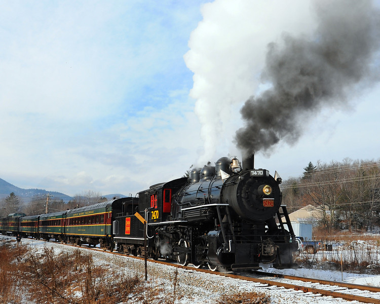 """The Massachusetts Bay Railroad Enthusiasts, and the Conway Scenic Railroad, of North Conway, NH, hosted the annual """"Steam In The Snow"""" event, on January 7th, 2012. The Mass Bay RRE, chartered the train, powered by the Steam Locomotive #7470, for a round-trip run from the North Conway train station, to The Notchland Inn, in Hart's Location. There were a number of photo stops during the trip."""