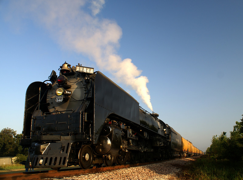 UP 844 prepares to depart Waurika, OK