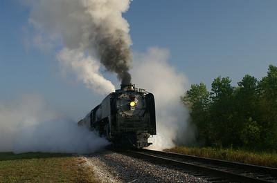 Union Pacific #844 departing Waurika, OK.
