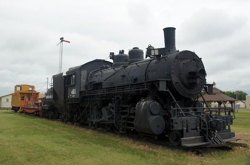 UP 481 on static display in Kearney, NE