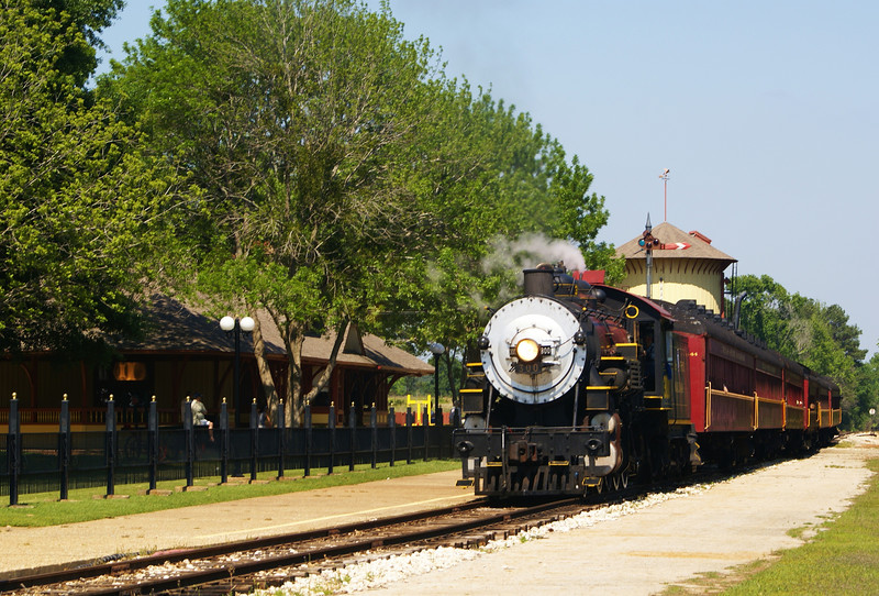 Texas State Railroad 300 pulls into the station at Palestine, TX.