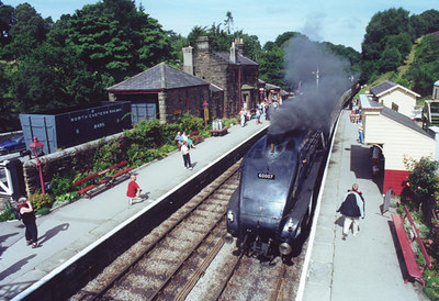"North Yorshire Moors Railway, ""Sir Nigel Gresley"", Goathland, 2001. (Scanned photo, hence poor quality)"