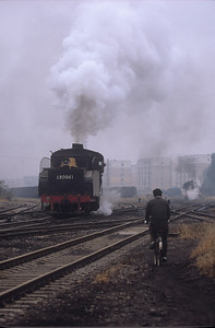 Cyclist travels beside the rails as SY 0941 works away on another rainy day.