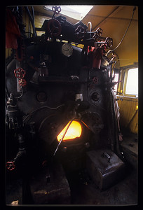 Butterfly doors open, a shot of the firebox inside the cab of the SY.