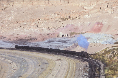 An SY with 11 coal cars climbs a hill out of the pit as it heads for the washery.