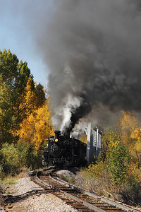 The eastbound double-header crosses the bridge just outside of the Chama yard on Sept. 29/2012.