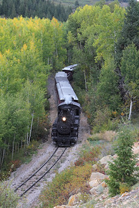 "Engine #489 heads Westbound towards the ""Narrows"" on its way to Chama."