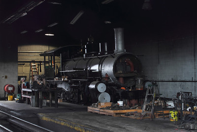 Engine 463, a K-27, sits in the shops at Antonito