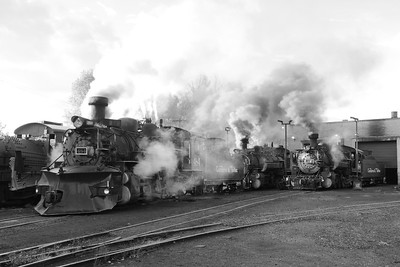 Wow, just amazing to see 3, K-36 Steam locomotives steamed up and puffing smoke. Here #484, #488 and #489 sit in the yard at Chama, with the final engine, #487 in Antonito.