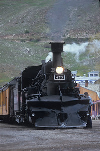 Engine 473 sits and waits for the passengers in Silverton, Colorado.