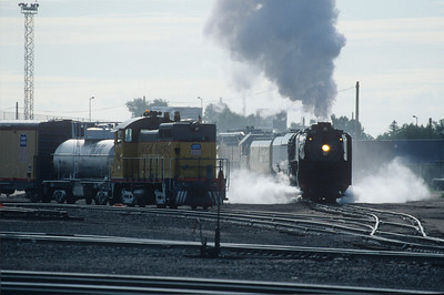 Refueled and ready to roll, 844 prepares to leave Cheyenne WY.