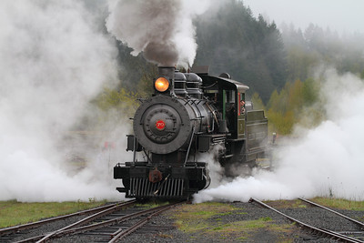Polson Logging engine #70 backs out of the yard as it prepares for a day of run-bys and photo ops on the MRSR.