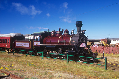 "Steam engine 45, known as the ""Skunk Train"" prepares to get underway in Fort Bragg, California."