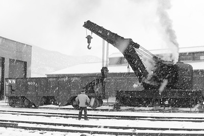Where else in the world can a person still see an working steam crane? Here Nevada Northern wrecking crane A is a steam powered, 100 ton crane that is over a 100 years old and is still able to lift derailed cars back onto the tracks.