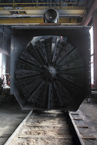 A front view of the massive rotary blades on Rotary plow B.