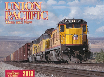 UNION PACIFIC Then and Now – FEF 4-8-4 No. 844; a wintry scene of a stack train in eastern Nevada; a DASH C40-8 and SD60Ms climbing King Hill; a C30-7 heading a manifest in Oregon's Blue Mountains; the A-B-A E9s near Portola; an auto-rack train in the Columbia River Gorge; Big Boys at the Cheyenne Coal dock; SD70Ms on the 'Washy Line'; the Yakima branch prior to abandonment; SD70Ms near Yuma; a 700-series 2-8-0; an SD70ACe on Donner Pass.