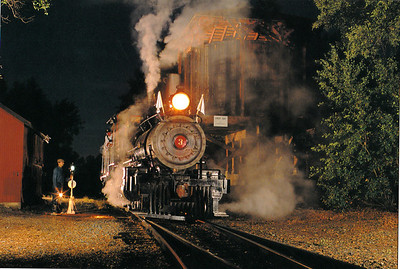 Sierra Ry. 4-6-0 No. 3 at night