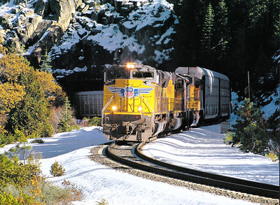 a wintry scene of a stack train in eastern Nevada