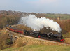 43924 + 95820 cross Mytholmes Viaduct Nr Oakworth	on the 15.30hrs Keighley - Oxenhope during the steam gala 		<br /> 09/03/2014