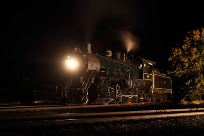Steam engine #18  continues to pose for photos in a night photo session held at La Veta on Saturday, Sept 22/2012. Special thanks to Phillip Beachler and his folks for their efforts in setting up the lights and generator.
