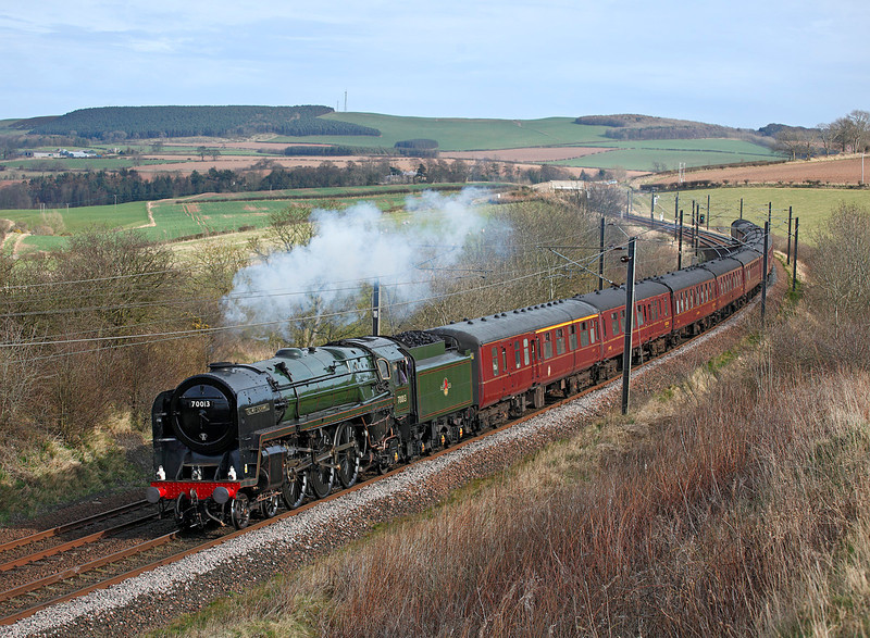 70013 'Oliver Cromwell' seen in the Scottish Borders with 1Z20 the 06.44hrs Huddersfield to Edinburgh 'Heart of Midlothian' railtour<br /> 17/03/2012