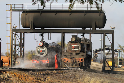 A great scene for rail fans: two steamed up engines take on water as they prepare for a work day at the BCL mine.