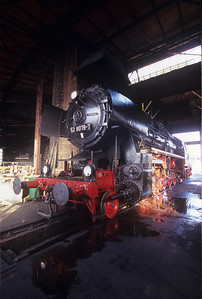 Waiting for the party: loco 52 8079-7 waits in the roundhouse at Dresden for the visiting locos to arrive.