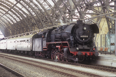 Locomotive 44 2546-8 is the head engine for a passenger excursion departing from the HBOF (train station) in Dresden.