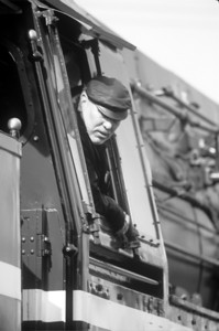 The engineer of 18 201 looks out of the cab as his engine is placed on the turntable in Dresden, Germany.