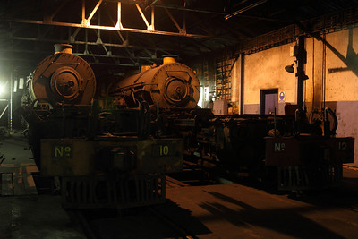 2 Garratts sit in the shed at the Hwange colliery. Although they looked like parts engines, the goal is to get one of these (or both?) working again. Given the condition of #11, having another operating engine is a necessity if the mine wants to keep cars moving.