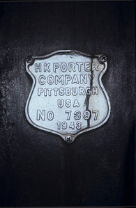Builders plate for Anaka, originally built by HK Porter, in 1943, for the Carbon Limestone company.