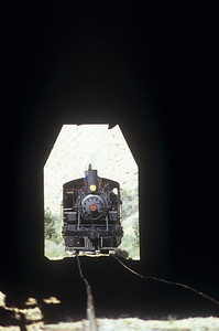Engine #29 apparaoches the tunnel entrance on the V&T line just outside of Gold Hill, Nevada.