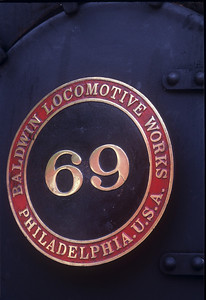 Number plate for #69: a 2-8-0 built by Baldwin in 1908.