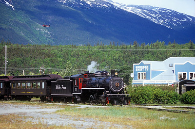 Steam engine 73 sits and waits for the cruise ship to dock in Skagway, Alaska.