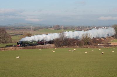"""60163 """"Tornado"""" passes Burton on an Edinburgh-Euston special 20/11/10."""