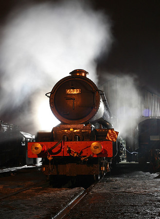 6023 'King Edward II' on shed at Loughborough after the first day of the GCR's Winter Gala. 25/1/13