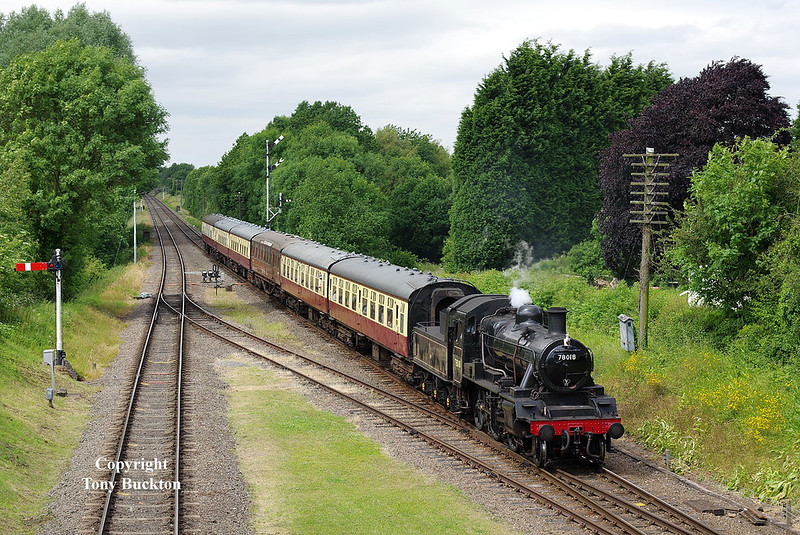 BR Standard Class 2MT approaches Quorn and Woodhouse with the 2A36 15:00 Loughborough - Leicester North service on Friday 16th June 2017.