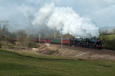 Black 5s 44932 & 45305 hurry a Euston-Carlisle charter up Grayrigg bank 18/2/12.