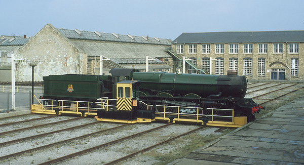 No. 6000 'King George V' on Swindon Works traverser in 1992, not long before it was taken to the old museum in town. 29/2/92