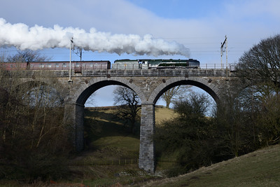 "46233 ""Duchess of Sutherland"" crosses Docker Garth viaduct with the Winter Cumbrian mountain Express 7/2/15."