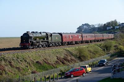 """46115 """"Scots Guardsman"""" passes Grange on a Carlisle-Euston return charter 12/4/14."""