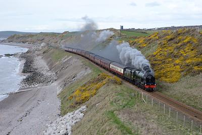 "46100 ""Royal Scot"" passes Nethertown with a Carlisle-Euston charter 9/4/16."