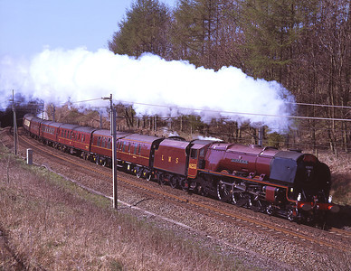 "6233 ""Duchess of Sutherland"" passes Beckfoot on a Lincoln-Carlisle charter 18/4/09."