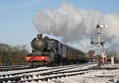 With a 'Jinty' hauled freight looped at Swithland, 6023 'King Edward II' cruises south with the 09.45 Loughborough Central to Leicester North. 26/1/13