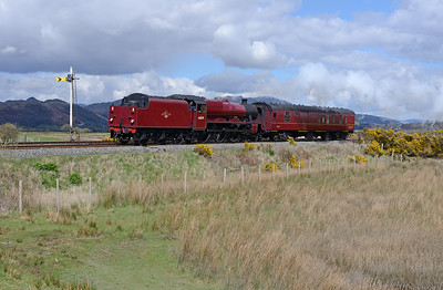 """45699 """"Galatea"""" and support coach head from Steamtown to Sellafield at Lady Hall to take over a Carlisle-Bridlington charter 16/4/16."""