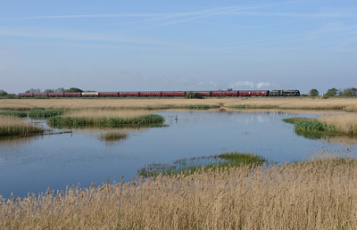 "46115 ""Scots Guardsman"" passes Leighton Moss with the empty stock for the Grange-Edinburgh leg of the Great Britain VII tour 29/4/14."