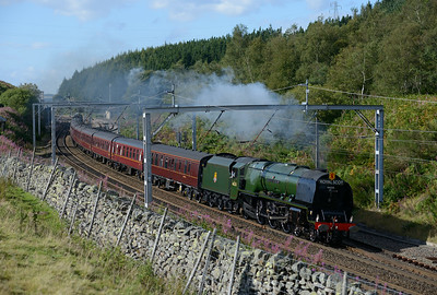 "46233 ""Duchess of Sutherland"" cruises over Shap summit with a Carlisle-Crewe special 30/8/14."